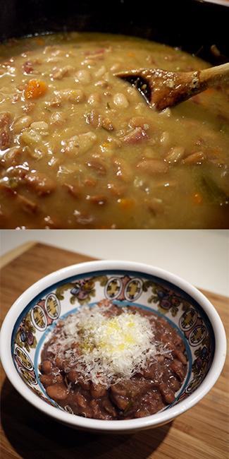 ピントビーンズとベーコンのスープ