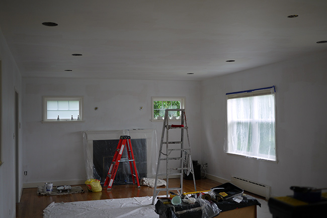 family room paint prep