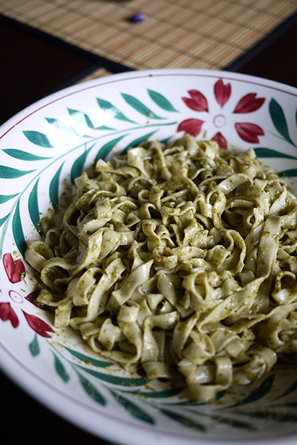 fresh pasta with pesto
